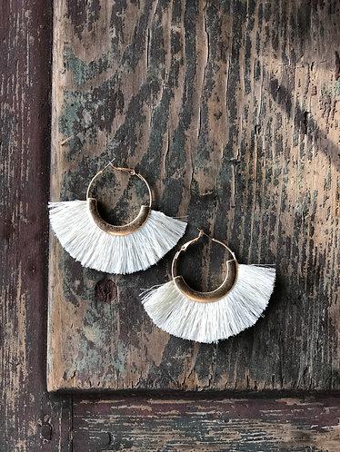 Ivory Fan Tassel Earrings