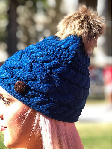 Quilted One Button Blue Beanie w/Pom