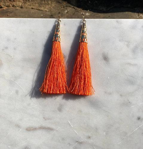 Orange Tassel Drop Earrings
