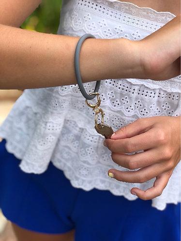 Gray Circle  Wristlet Keyring
