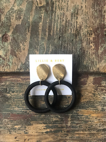 Black/Gold Circle Hoop Earrings