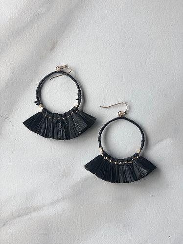 Black Raffia Fan Earrings