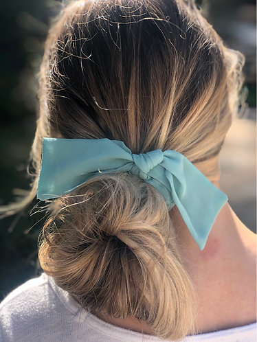Mint Green Hair Scrunchie w/ Bow