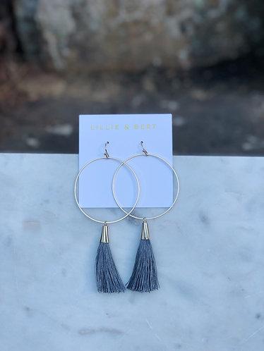 Dark Gray Hoop Tassel Earrings