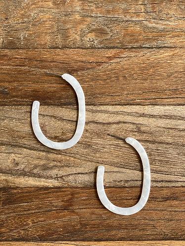 White Acrylic Oval Open Hoops