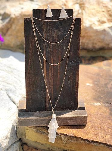 Gold Multi Layer Necklace w/Multi Layer Tassel
