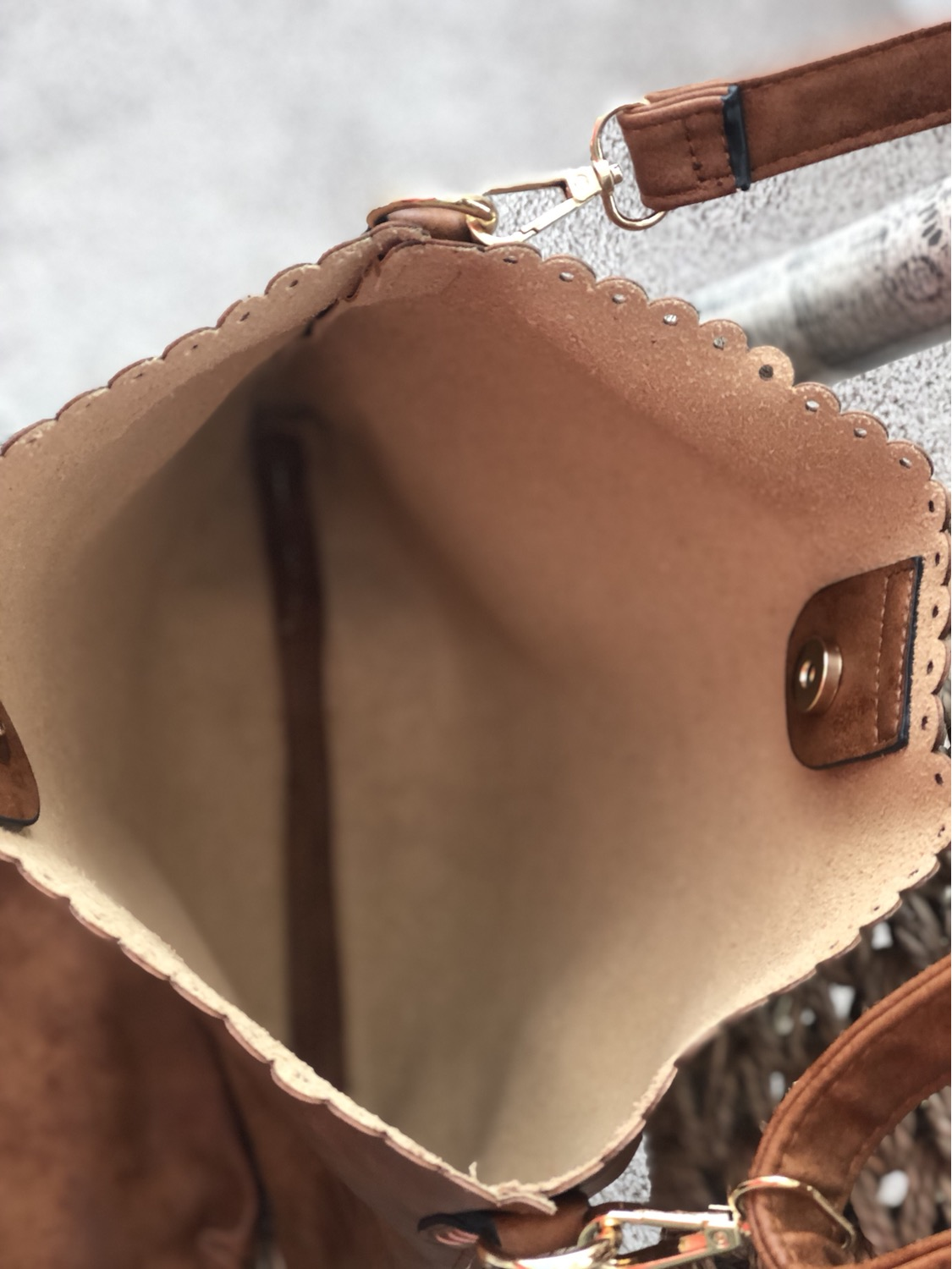 Thumbnail: Lola Brown Eyelet Scallop Two in One Bag