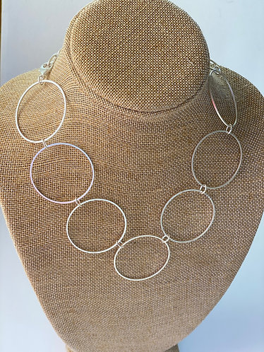 Silver Circle Link Necklace