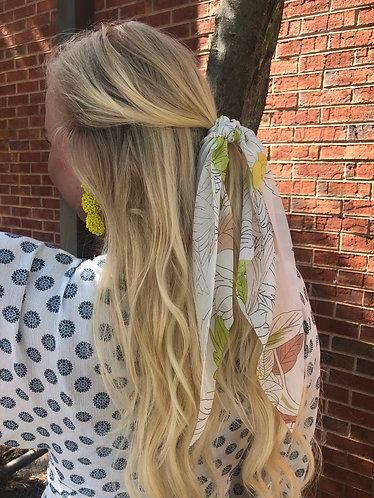 Spring Leaf Print Hair Scarf