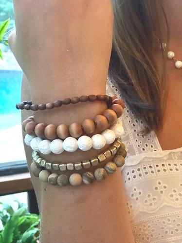 Five Stack Bead/Wood Bracelet