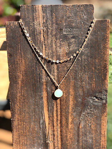 Dainty Gold Two Layer w/ Green Stone Necklace