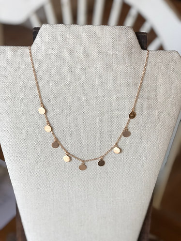 Gold Dainty Round Charm Necklace