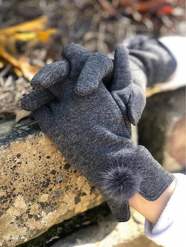 Grey Solid Soft Screen Touch Gloves