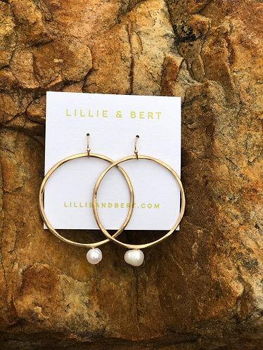Gold Circle Freshwater Pearl Earrings