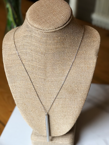 Long Silver Tube Necklace