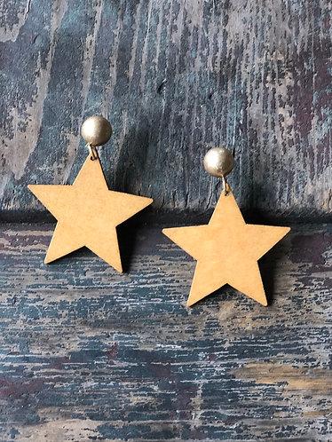 Gold/Wooden Star Earrings