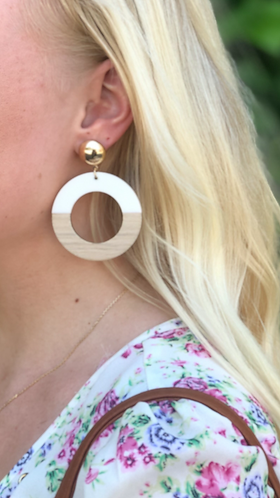 Gold/Ivory Half Wood Circle Earrings