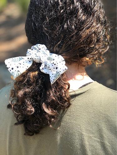 Mint/Black Polka Dot Hair Scrunchie