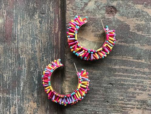 Multi Colored Bead Hoops