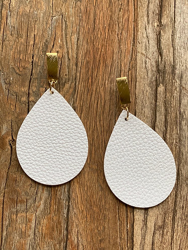 White/Gold Tear Drop Leather Earrings