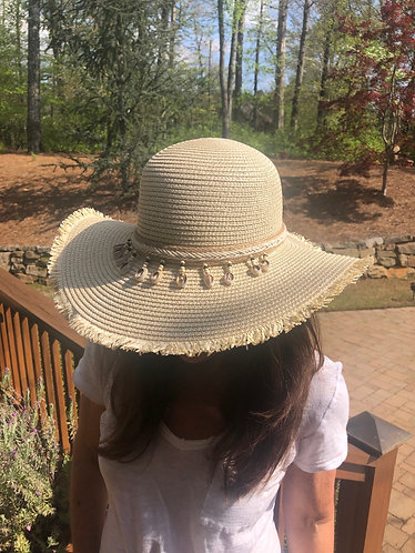 Bahama Beach Hat with Braided Band and Cowrie Shells