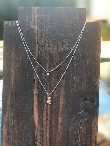 Silver Double Layer Necklace w/Pineapple