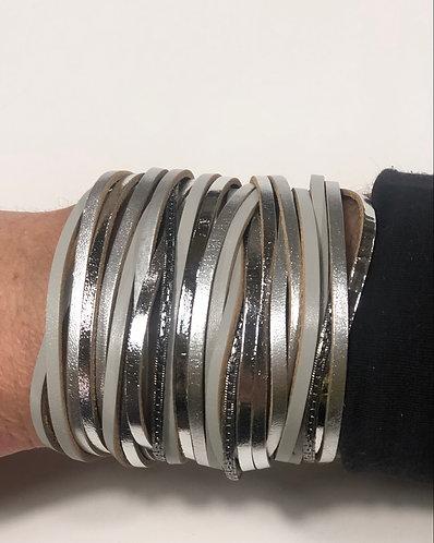 Multi Strand Silver Tones Magnetic Bracelet