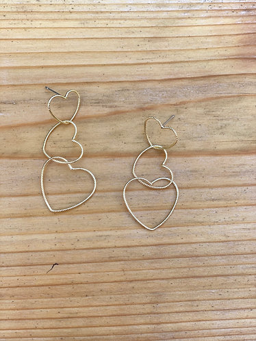 Gold Triple Heart Earrings