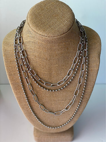 Silver Oval & Ball Chain Layered Necklace
