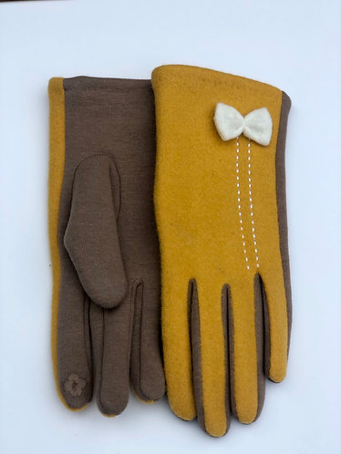 Mustard Two Tone Smart Gloves w/White Bow