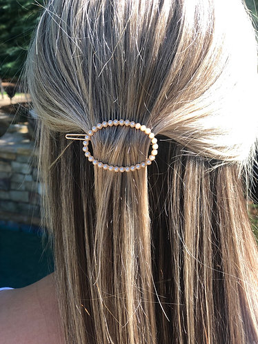 Oval Pearl Hair Barrette