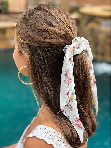 Flower Bouquet Print Short Hair Scrunchie Scarf