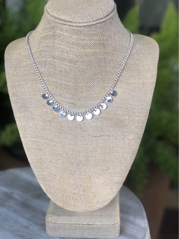 Silver small multi disc necklace