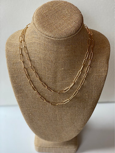 Gold Double Layer Chainlink Necklace
