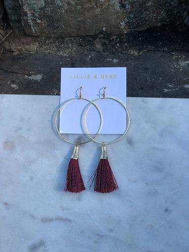 Burgundy Hoop Tassel Earrings