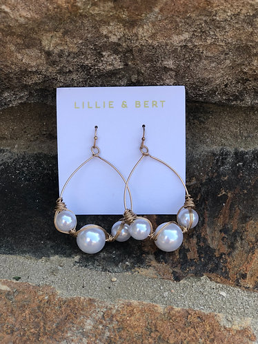 Large Pearl/Gold Hoops