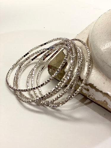Multi Strand Silver/Rhinestone Bracelet