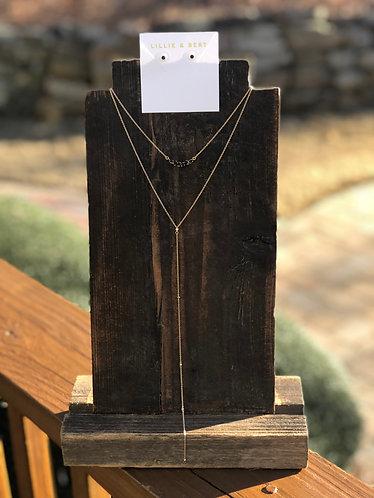 Gold/Black Mini Stone Y Necklace W/Studs