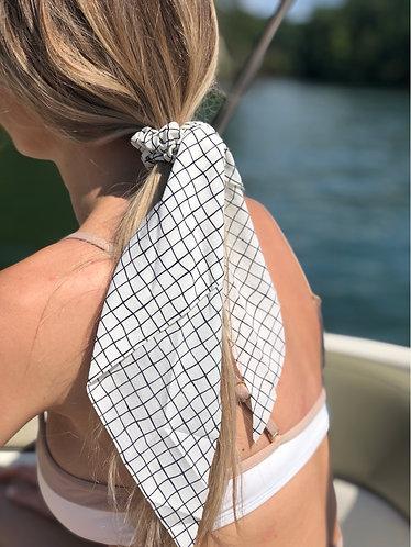 Grid Print Hair Scrunchie Scarf