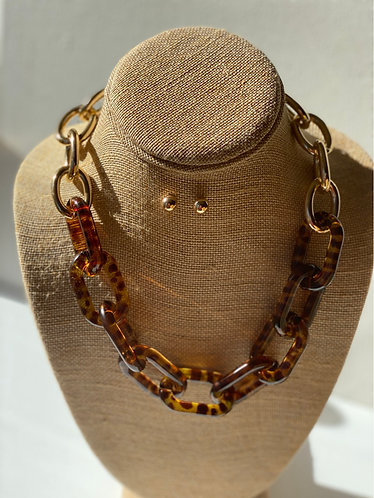 Leopard Arylic Chain Necklace