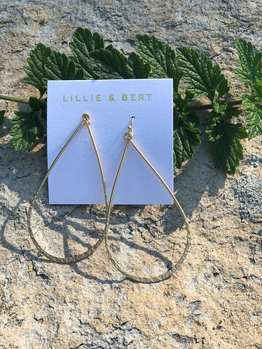 Long Hammered Gold Hoops