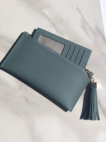 Smokey blue skinny wallet wristlet