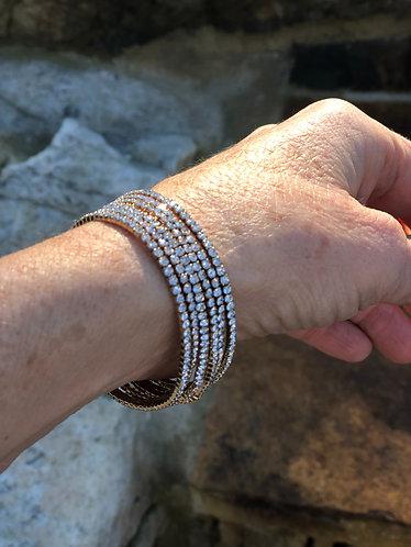 Multi Strand Gold/Rhinestone Bracelet