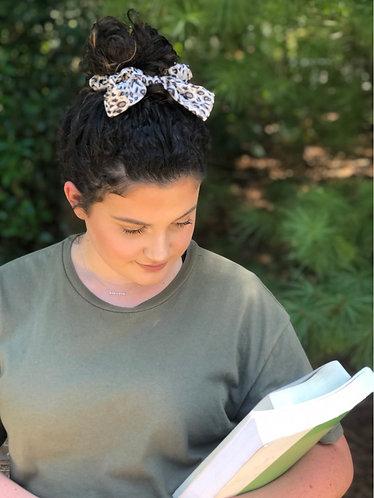 Leopard Bow Tie Hair Scrunchie