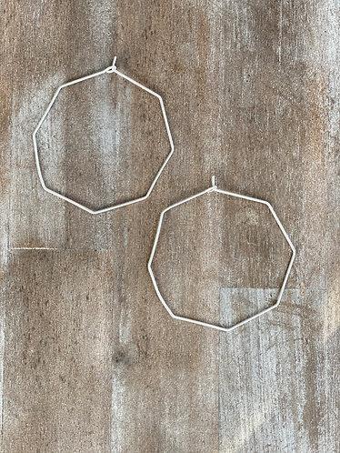 Silver Thin Octogon Hoop Earrings