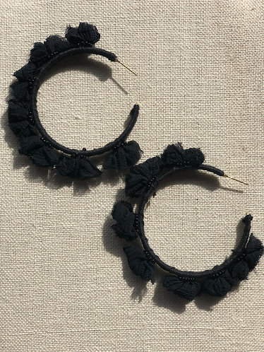 Black Cloth Rose Hoops