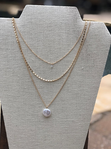 Dainty Gold Pearl Layered Necklace