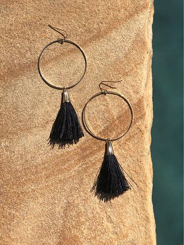 Gold Circle Black Tassel Earrings