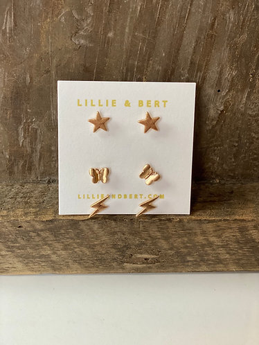 Three Pack Stars, Butterflies & Lightening Studs