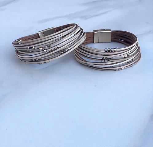 Tan Bead Multi Strand Bracelet
